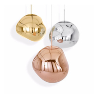Modern D30/40CM Living room Melt Pendant Lights Glass Lava Irregular Silver Gold Copper Mirror Hang Lamp for Bedroom Lighting