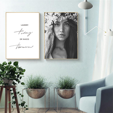 Nordic Modern Simple Motivational Phrase Pretty Flower Girl Canvas Art Abstract Painting Print Poster Picture Wall Home Decor