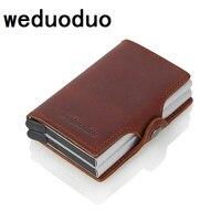 Crazy horse Leather Credit Card Holder Security Information Double Box Aluminum Card Holder Men Wallets Rfid Blocking Wallet