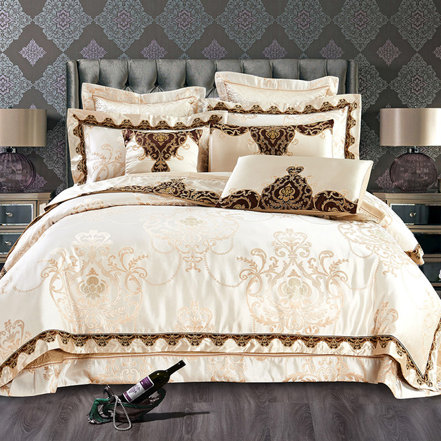 Stain Jacquard Luxury Duvet Cover Bedding Set King Queen Size Bed Beige Embroidered Cotton