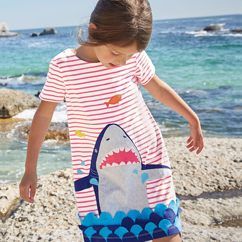 Baby Girl Summer Style Dress Kids Clothes Shark Stripe Children Clothing Children Brand Dresses Party Princess Dress 2018 New