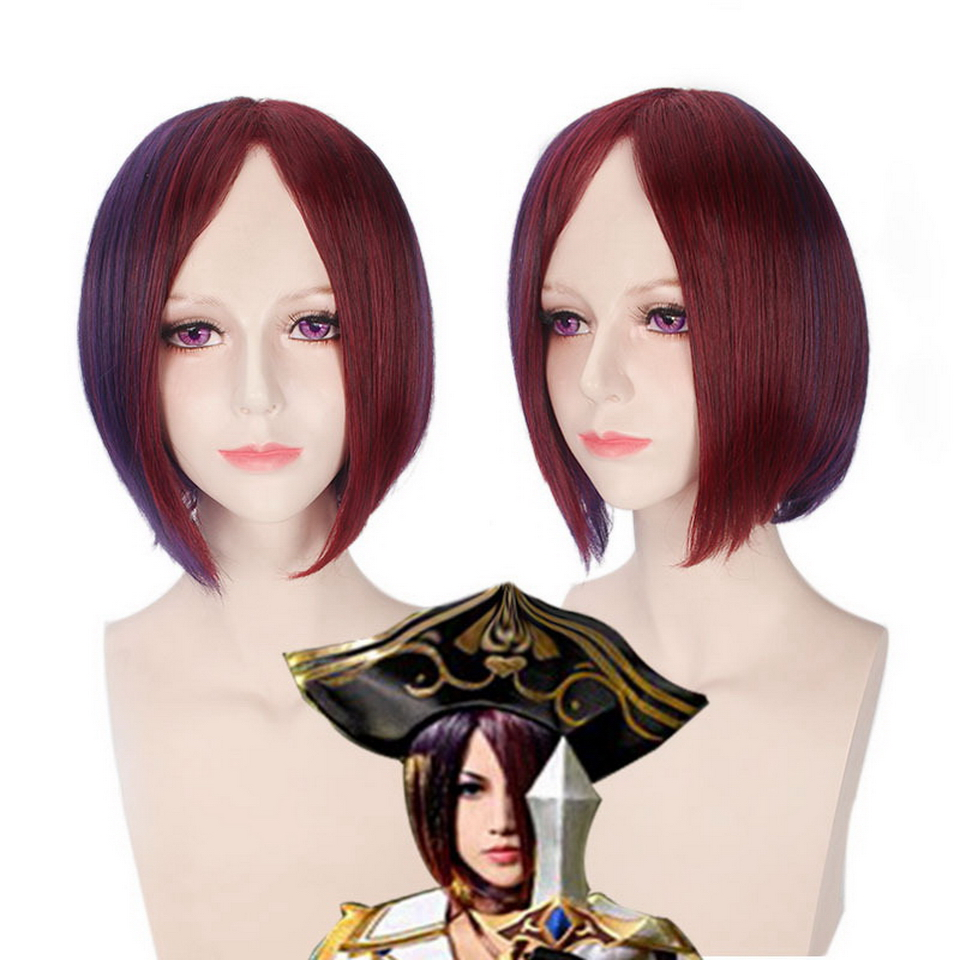 12inch LOL League of Legends Wine Red Purple Short Ombre Wig Cosplay Anime Straight Synt ...