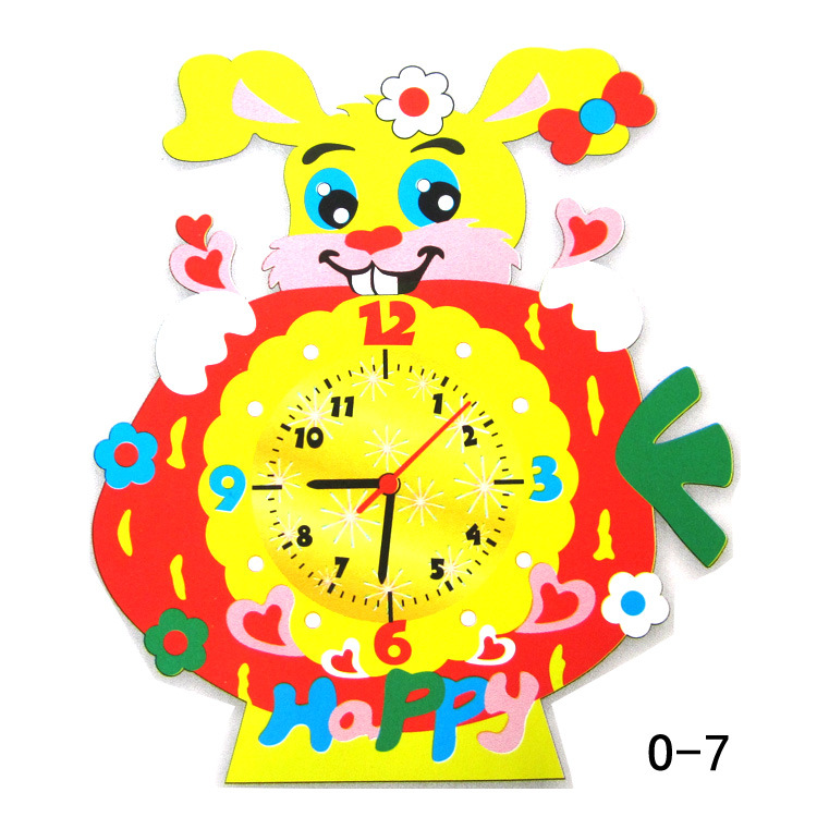 1Pcs DIY 3D Puzzle Cartoon EVA Animal Clock Wooden Toys For Kids Baby Arts Crafts DIY Assembled Early Educational Toys