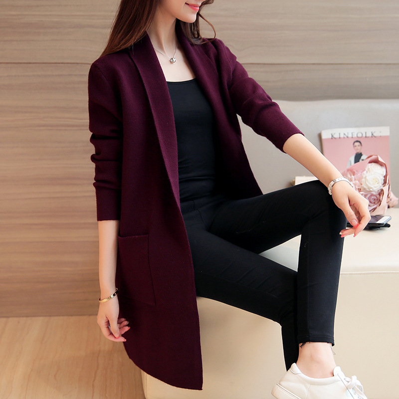 2019 Autumn Winter Long Sweater Coat for Women Turn Down casual pocket Cardigans Sweaters loose Coat