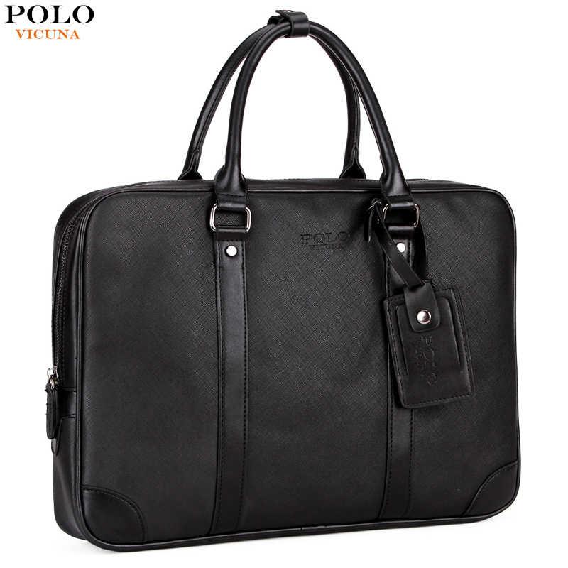 97e303e690b2 Викуньи поло кожаный деловой портфель для мужчин сумки бренд повседневное мужская  сумка Твердые Офис для простой