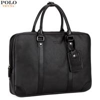 VICUNA POLO Leather Business Briefcase Men Bags Brand Casual Men's Shoulder Bag Solid Office Bag For Men Simple Laptop Handbag