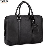 VICUNA POLO Leather Business Briefcase Men Bags Brand Casual Men S Shoulder Bag Solid Office Bag