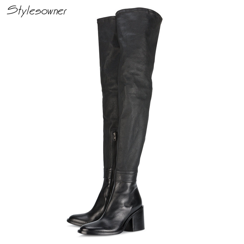 Stylesowner New Fashion Zipper Over-the -knee Long Boots Thick Heels Thigh Women Botas Sexy Real Leather Long Boots Plus Size45 stylesowner genuine leather mesh long heels boots women laces botas mesh see through sexy knee high long boots metal long shoes
