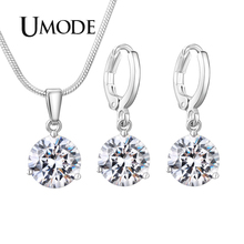 UMODE 2019 New Fashion Round Pendant Necklace and Earrings Sets for Women Blue Pink Red Green Zircon White Gold Jewelry AUS0081