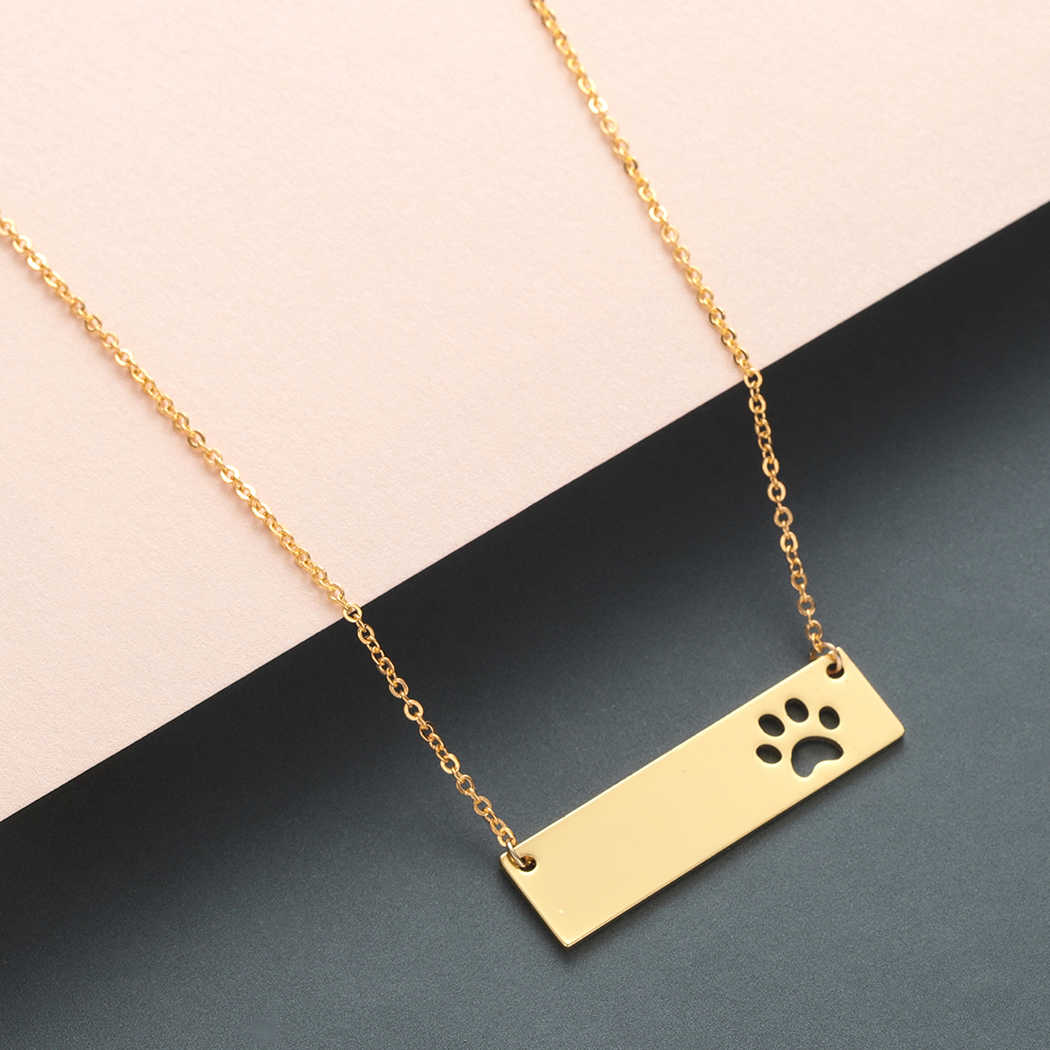 Todorova Trendy Cat Dog Paw Bar Pendant Necklace Women Stainless Steel Chain Necklaces Gift Male
