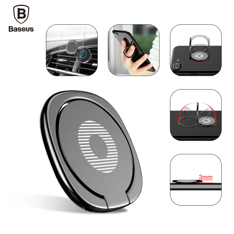Baseus Metal Finger Ring Holder For iPhone 8 7 Samsung Phone Ring Mobile Phone Holder Stand For Magnetic Car Phone Holder Stand