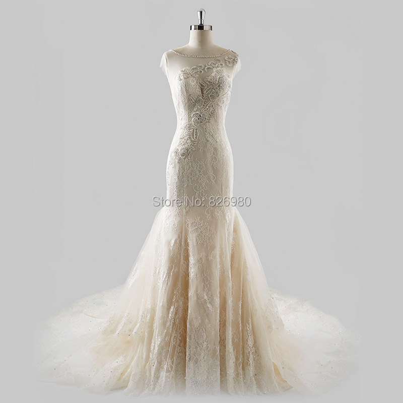 Online buy wholesale champagne colored mermaid wedding for Plus size champagne colored wedding dresses