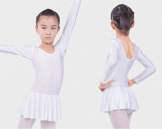 Long sleeved Spandex Gymnastics Leotard for Girls Ballet Dress Clothing Kids Dance Wear