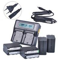 4 pçs 7200 mah NP F970 np f970 NP F960 NP F950 bateria + 1 ultra rápido 3x carregador duplo mais rápido para sony f930 f950 f770 f570 CCD RV100|np f970|np f970 battery|battery np f970 -