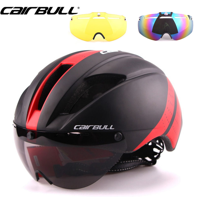 3 Lens 280g Speed Aero TT Road Bicycle Helmet Cycling Bike Sports Safety TT Helmet Racing in-mold Road Bike Cycling Goggles red