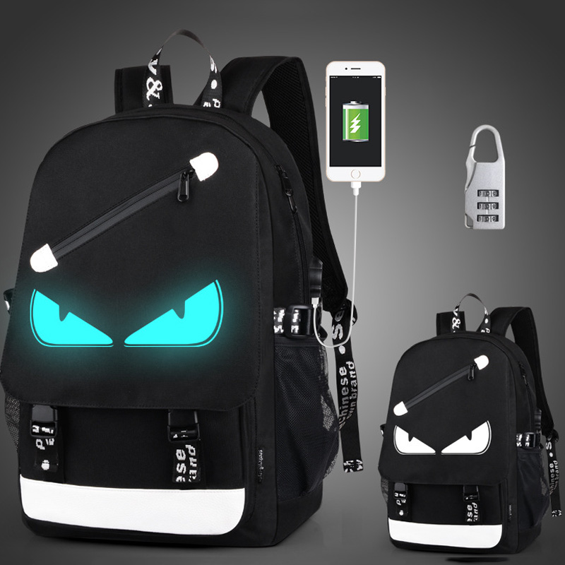 Children School Bags Boy Girls Anime Luminous School Backpack Waterproof Kids Book Bag Usb Charging Port And Lock School Bag