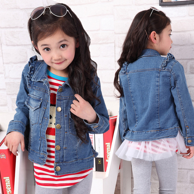 5ab95e274 Retail 2014 autumn baby girls jeans new fashion jacket child denim top kids  denim outerwear little girl coats free shipping d297