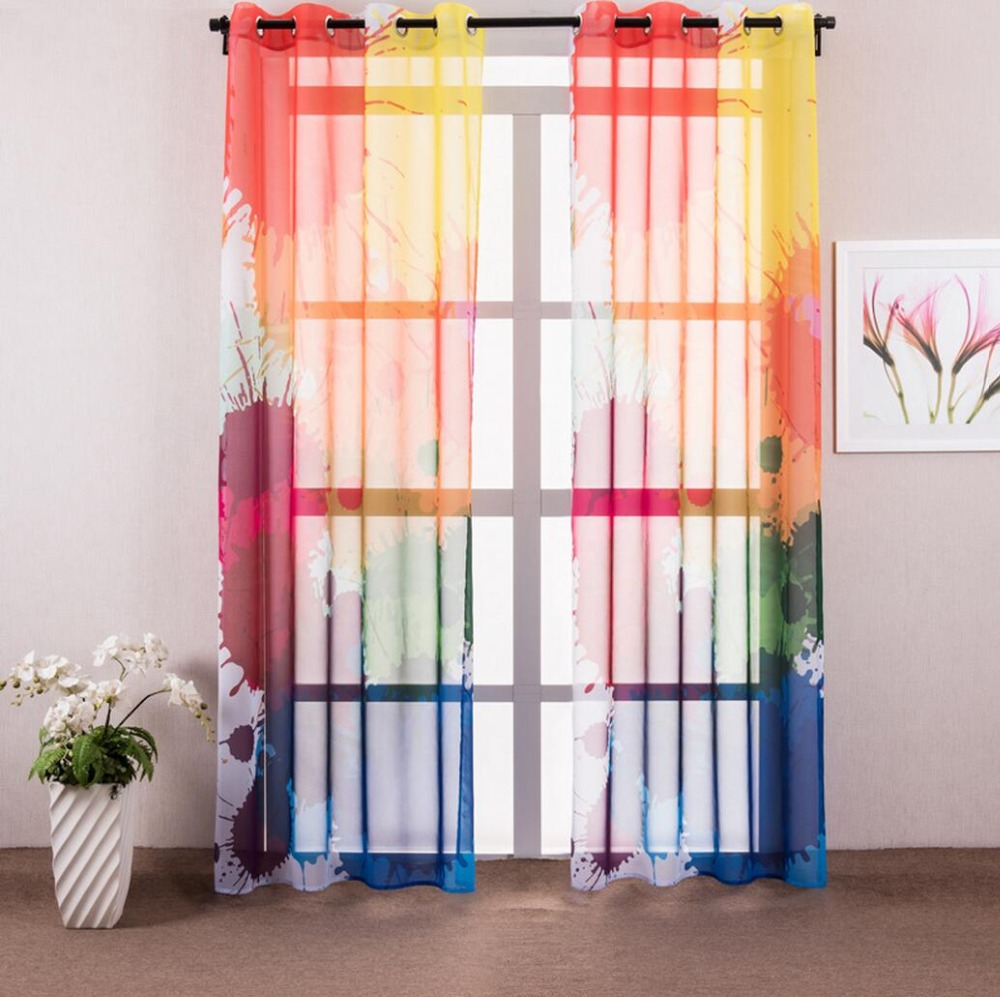 Colored sheer curtains - 1 Piece Colorful Graffiti Sheer Curtains For Living Room Modern Window Curtain For Bedroom Drapes