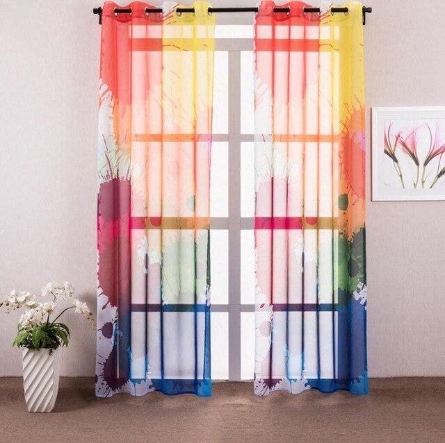 1 pièce Coloré Graffiti Sheer Rideaux Pour Salon Moderne Fenêtre ...