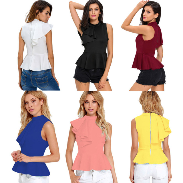Summer Fashion Peplum Tank Top Women Elegant Asymmetric Ruffle Side Peplum Top Turtleneck Sleeveless Back Zipper Shirt Blouses