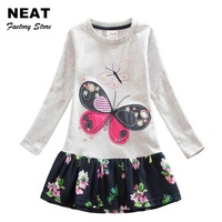 Retail 4 8Y 2016 Neat Brand Dress Baby Girl Cartoon Children Lace Tutu Party Fashion Princess