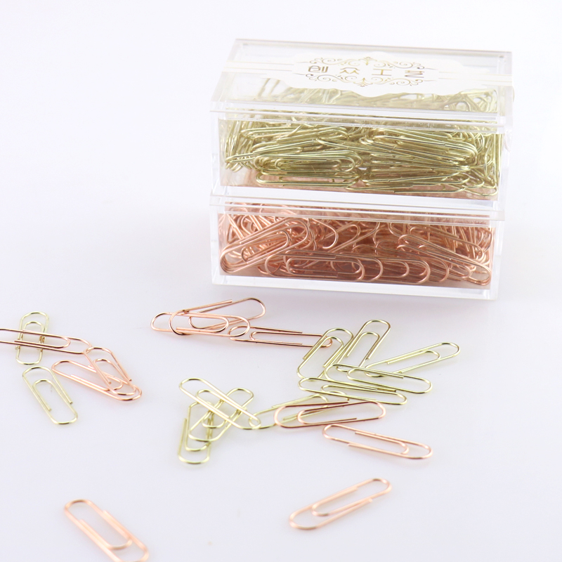 TUTU Rose Gold Fashion Paperclip Metal Paper Clips Photo Clip Paper Clips Decorative Gift Stationary Office Supplies H0089 never marble binder clips gold metal clips document paper clips with clip holder fashion office accessories school supplies