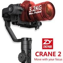 DHL LIVRE Zhiyun Guindaste 2 eixos Cardan Handheld estabilizador 3.2 KG FILME Follow focus Dual punho para DSLR MIRRORLESS Giroscópio CÂMERA