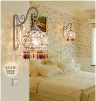 Frete Grátis Tiffany Lâmpada de Parede Lâmpada Quarto Europeu Cor Cristal Arandela Luminaria Lamparas E27 110-240 V AC 100% garantido