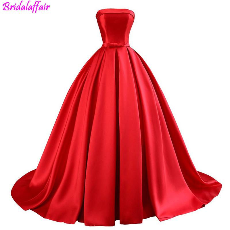 2019 vestido formatura Bridal long woman   Prom     Dress   Ball Gowns Lace Up Long Formal Red   Prom   Evening   Dress   with Bow