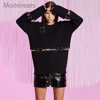 Modstreets European Women's Clothing Round Circle Waist Decor Solid O Neck Long Sleeved Knitted Sweater Women Soft Wool Pullover
