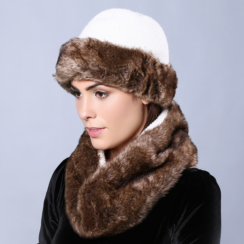 e8970a9055d Womens Winter Hats with Infinity Scarf Set Faux Fur Solid Color Skullies    Beanies Two Sides Available Bow ties Knit Female Cap-in Scarf