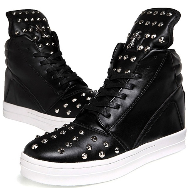 b34d0e02ca27 Cool Fashion Punk Rock PU Leather Ankle Boots Mens Stylish High Tops Hip  Hop Shoes Rivet Studded With Charm Lace Up Zip Trendy