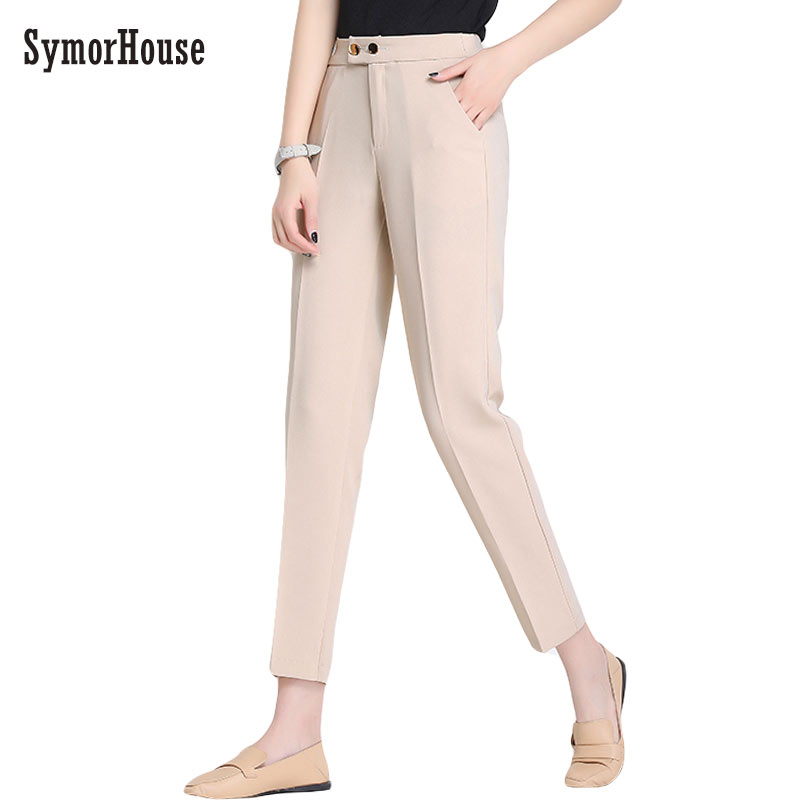Women's   Pants   Trousers for Women with High Waist Button   Pants     capris   Spring Autumn Female Ankle Length Fashion Office   Pants