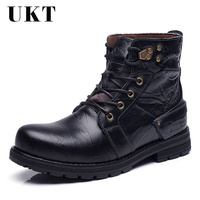 Winter Mens Cowhide Genuine Leather Boots Men Military Combat Boots Gothic Skull Punk Motorcycle Martin Boots Work Safety Shoes