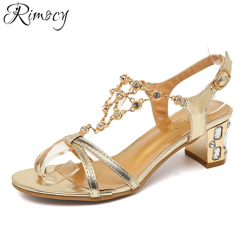 Rimocy rhinestone heels women gold silver sandals brand design 2017 casual summer shoes woman med heel open toe sandalias mujer women shoes summer women sandals 2017 peep toe gold silver roman sandals shoes platform brand creepers woman sandalias size 43