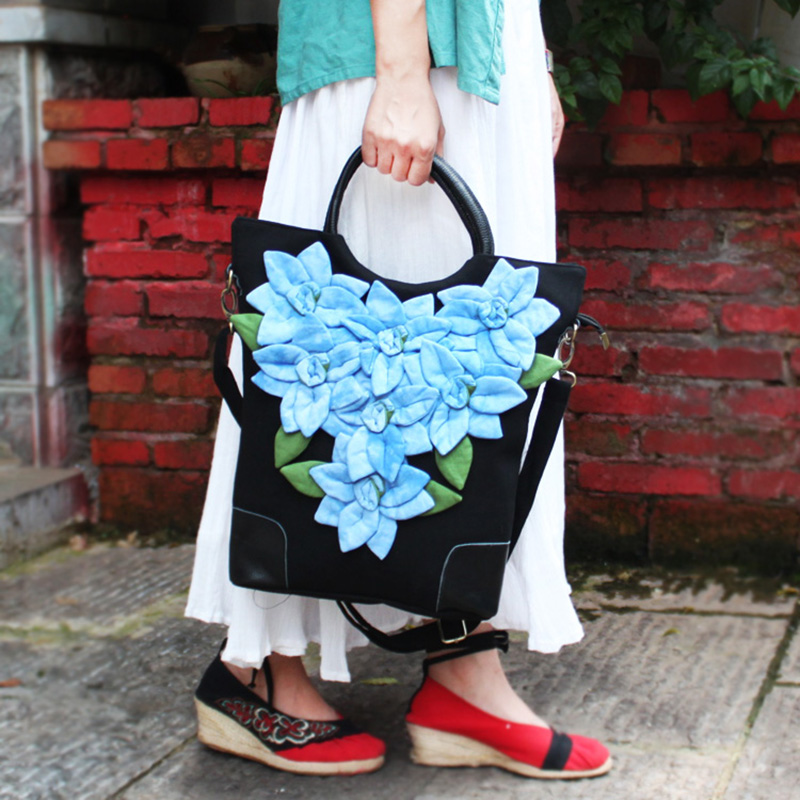 aa3a585e3f ETAILL Pink Handmade Flower Appliques Canvas Bags for Women 2018 Black  Bolsas Top Handle Bag Tote Messenger Crossbody Bag-in Shoulder Bags from  Luggage ...