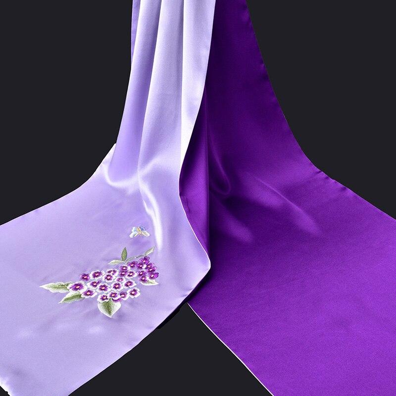 2019 Hangzhou 100% puro bufanda de seda de lujo 16mm hecho a mano de seda bordado chales y boleros para las mujeres Natural de seda bufandas - 3
