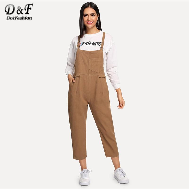 Dotfashion Khaki Solid Pocket Front Denim Overalls For Women 2019 Autumn Casual Streetwear   Jumpsuits   Preppy Mid Waist   Jumpsuit