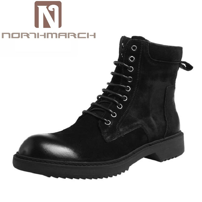 NORTHMARCH British Style Leather Men Shoes Brand Dr Martin Boots Non-slip Military Ankle Boots Luxury Fashion Motorcycle Shoes fall trendboots in europe and america heavy bottomed martin boots british style high top shoes shoes boots sneakers