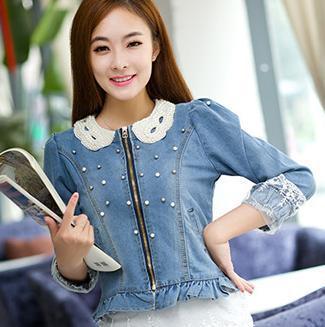 8864b08b2823 Nouvelles femmes de veste col perle couture denim veste femmes zipper Dentelle  Jeans Manteau court dans Vestes de base de Mode Femme et Accessoires sur ...