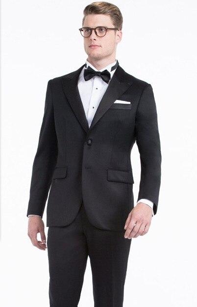 Noir Smoking Robe Porter Costume De Pour Le Sur Les Hommes Qualité Mens Formelle 2017 Haute Mariage Fait wXOkliuPZT