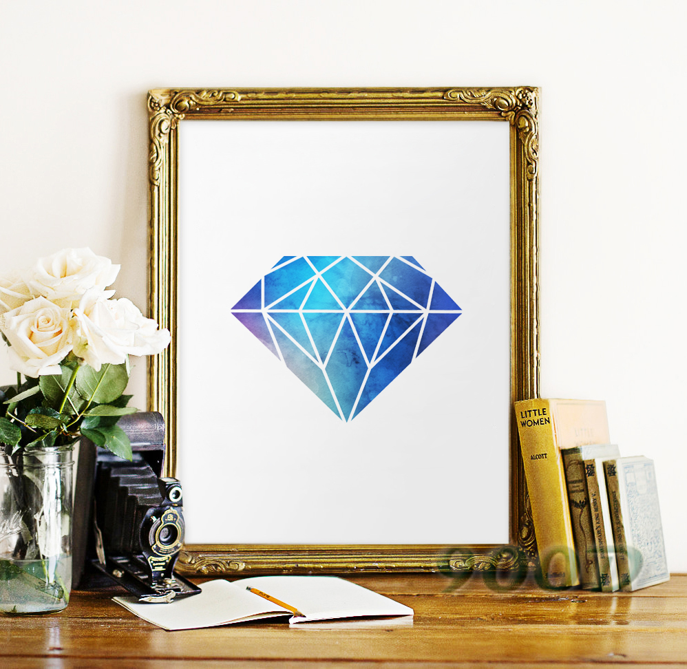 Watercolor Blue Diamond Canvas Art Print Poster, Wall