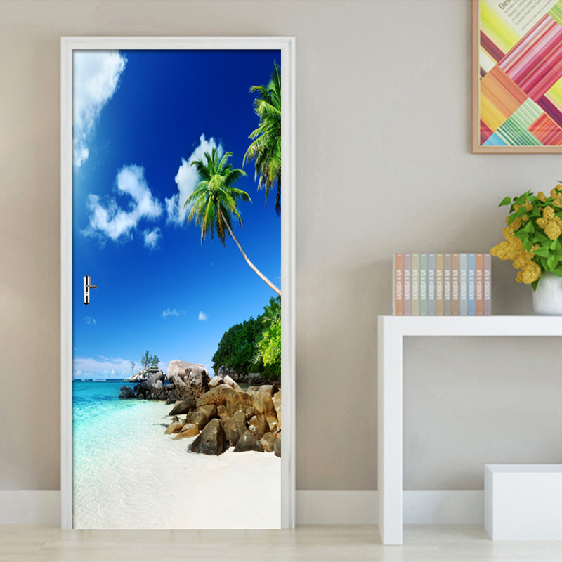 Купить художественная наклейка на двери с видом море масляная краска