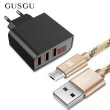 GUSGU 3.4A 3 יציאות טלפון נייד USB מטען LED תצוגת קיר מטען מתאם מהיר טעינה עבור iPhone סמסונג Xiaomi