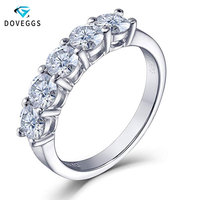 DovEggs Platinum Plated Silver 1.25ctw HI Color Lab Grown Moissanite Diamond Wedding Bands For Women 925 Silver Engagement Ring