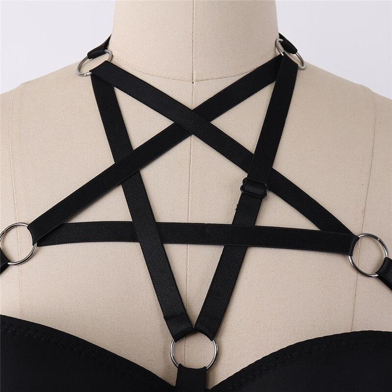 Leather Pentagram Harness Belt Body Chest Bra Waist Suspender Cage Goth Black JC