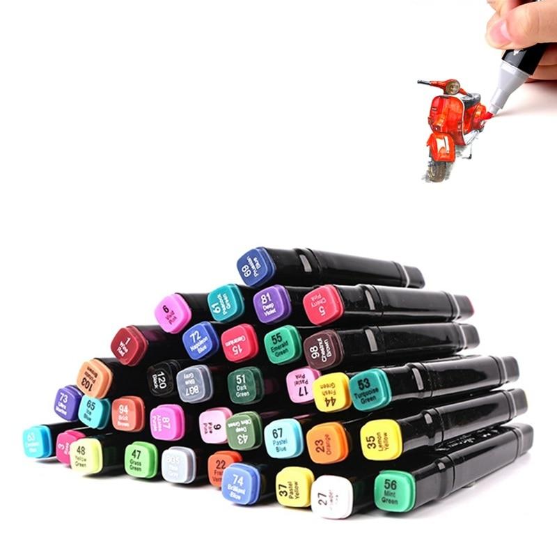 Где купить Сенсорное качество 30/40/60/80 цветной двойной наконечник 1/6 мм Быстросохнущий Перманентный маркер ручка CD ткань Металл Fineliner художник рисунок поставка