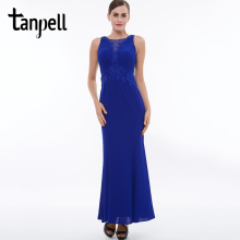 Tanpell scoop evening dress dark royal blue sleeveless straight floor length dresses cheap women party long formal evening gown