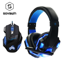 Breathing LED Gaming Mouse Professional 7 Button 5500 DPI USB Optical Mice with Stereo Gaming Headphone for PC Laptop Computer