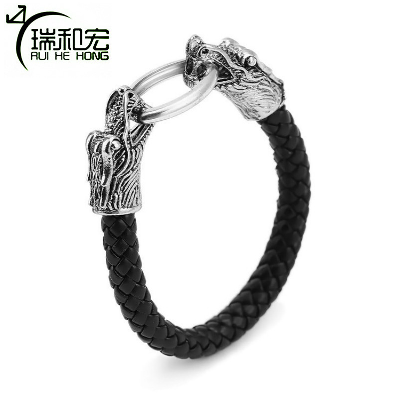 Mens Dragon Bracelet Alloy Braided Leather Bracelets & Bangles Retro Rock Style Charm Bracelet for Male Fashion Jewelry
